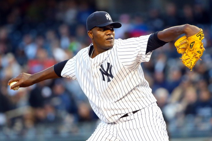 Apr 10, 2014; Bronx, NY, USA;  New York Yankees starting pitcher Michael Pineda (35) delivers a pitch against the Boston Red Sox during the first inning at Yankee Stadium. Mandatory Credit: Anthony Gruppuso-USA TODAY Sports  - RTR3KSMP